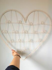 Cream Metal Wire Heart Photo Frame - shabby chic decor - wedding decoration