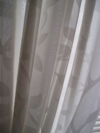 Two pairs of curtains white silk style