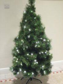 5ft Prelit Christmas Tree plus silver decorations