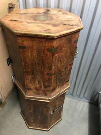 Rare 4 Tall Circular Wooden Chest / Storage Unit