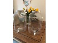 2 large Kilner style drinks containers for weddings parties etc unused