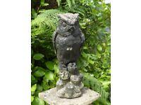 Vintage Large Cast Stone Eagle Owl Garden Ornament Garden Statue 43cm Tall