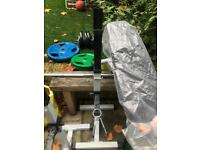York weight bench with Olympic bar and weights