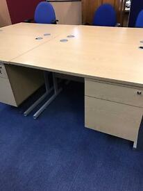 1400Mm Straight Desk & Integrated Draw Pack