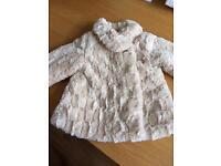 12-18 month nutmeg silk lined fur coat