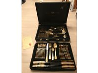 Gold plated cutlery canteen