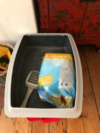Cat litter tray, scoop and litter - GONE