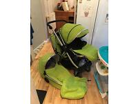 Lime green oyster max 2 double Pram pushchair