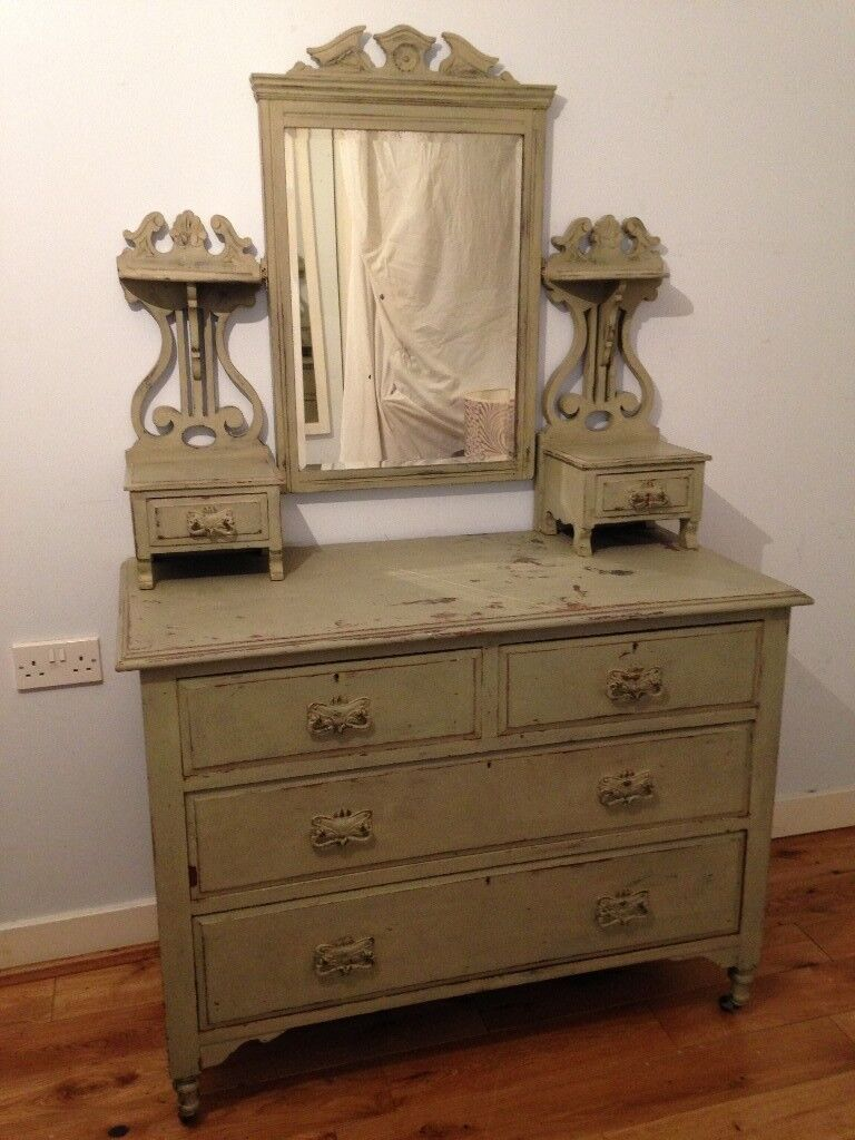 shabby chic vintage dressing table-chests drawers double beveled