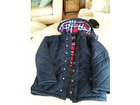 John Lewis padded blue jacket with hood and lining age 10 and 12