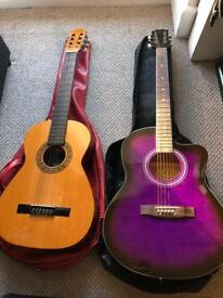 acoustic guitars with cases and stand