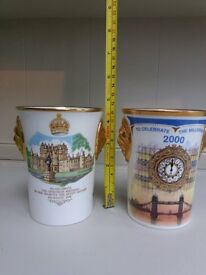 Reduced......2 Collectable china beakers; Queen Mother's 90th Birthday & the new millennium