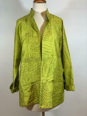 CHICO'S 100% Silk Embroidered Open Front Pockets Green Jacket Size 1