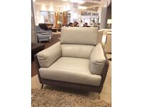 Grey leather & fabric armchair, gorgeous, brand new, ex display package & haven't the room