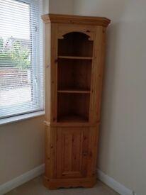 Tall freestanding pine corner cupboard