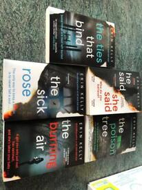 Collection of signed Erin Kelly crime thriller books