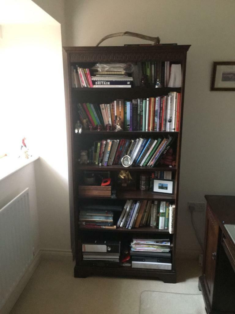 Regency style bookcase and desk