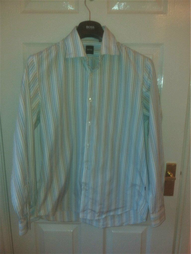 fea22237f Mens HUGO BOSS Black Label Size L Reg Fit Smart/Cas striped lightweight L/S Shirt  VGC