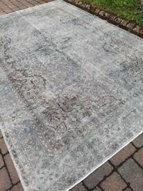 Mid Century Vintage Turkish Overdyed Oushak Rug Carpet 220x330cm Handwoven Cleaned