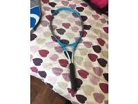 Tennis racket and 9 balls