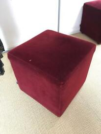Red velvet pouffe/ stool