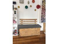 Large Pallet Bench Seating would suit indoor or outdoor, Heavy duty hand made
