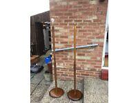 Vintage standard wooden lamps (pair)