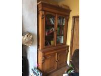 Large pine Welsh Dresser with glass doors