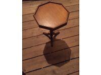 Octagonal oak side table, 29cm diameter, 50 cm high