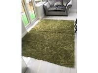 Green shaggy rug