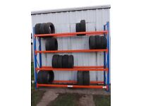 TYRE STORAGE RACK RACKING. HEAVY DUTY. STRONG. BRITISH MADE. 280cm LONG x 240cm HIGH (9ft 2in x 8ft)