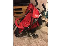 Zta Pettie star buggy pushchair ultra light from birth to toddler in red vgc