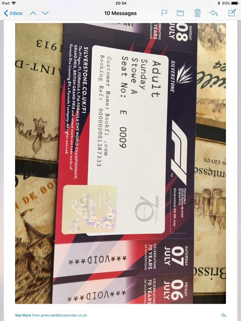 Silvertsone F1 Grand Prix reserved seat Stowe Corner A Sunday 8th Julyin Priorslee, Shropshire - Unfortunately I can no longer attend the event on Sunday and I am looking to sell my ticket to some one who may be able to enjoy the day. These tickets are now sold out for seated in Stowe Corner