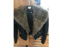 Leather jacket with fur size 8