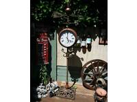 Garden clock weather vain