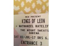 2 Standing Kings of Leon tickets for sale