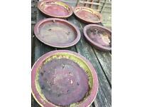 Plant pot saucers - red porcelain
