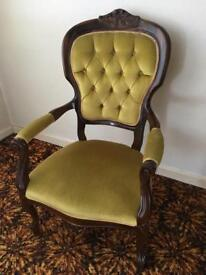 Yellow vintage funky retro arm dresser chair