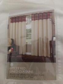 Lesley Red Lined Curtains