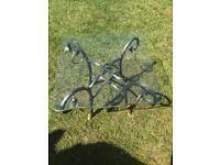 Glass table metal legs