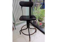 Vintage Industrial Tansad Metal Swivel Chair High Adjustable Kitchen Dining Room