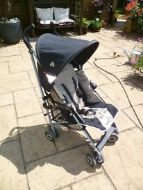 Maclaren Quest black and champagne light weight buggy/stroller, with rain cover