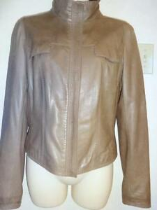 NEW ELIE TAHARI $1150 M 8 10 Leather Zip Jacket 36 Brown / SAKS FIFTH AVENUE Lightweight SPRING COAT ZIP BLAZER Quality