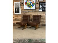 Mid Century Pair of Volak Bratislava Chairs in Brown faux Leather, Czech 1960s
