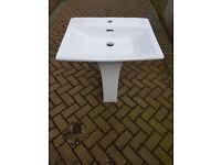 White Bathroom Sink (includes pedestal)