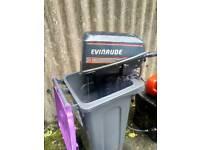 Evinrude 5 HP tiller control outboard engine fishing boat