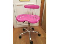 LADIES / GIRLS PINK & CHROME COMPUTER / COMPUTING OFFICE SWIVEL DESK CHAIR