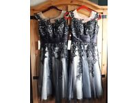 2 Beautiful BRAND NEW SIZE 8 grey/black Bridesmaid. Prom. Ball. Wedding Guest Dresses. BRAND NEW