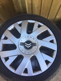 FULL SET OF CITROEN C4 VTR WHEELS ALL WITH GOOD TYRES AND FULL SIZE SPARE