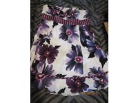 VINTAGE STYLE PURPLE FLORAL STRAPLESS DRESS BY RED HERRING SPECIAL EDITION SIZE 18 PARTY OR WEDDING